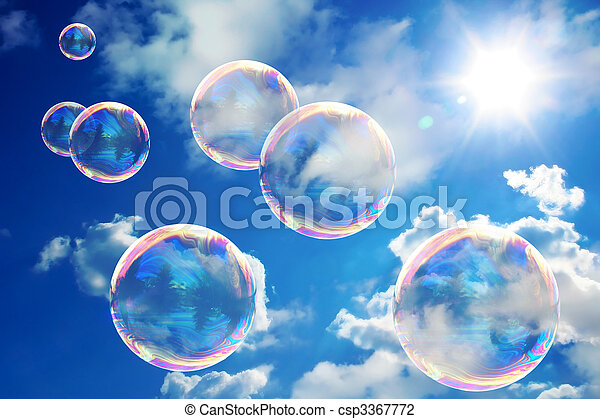 Soap bubbles on blue sky - csp3367772