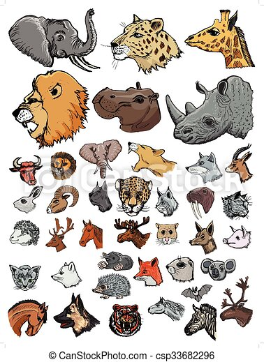EPS Vectors of set of illustrations of different kinds of mammals ...