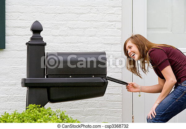 Girl Checking for Mail - csp3368732