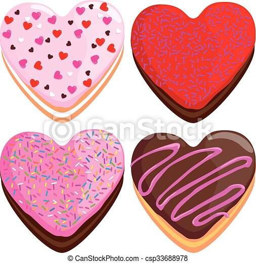 Vectors Illustration Of Heart Shaped Donuts Collection