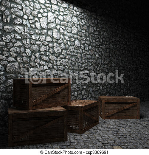 illuminated stone wall and boxes  - csp3369691
