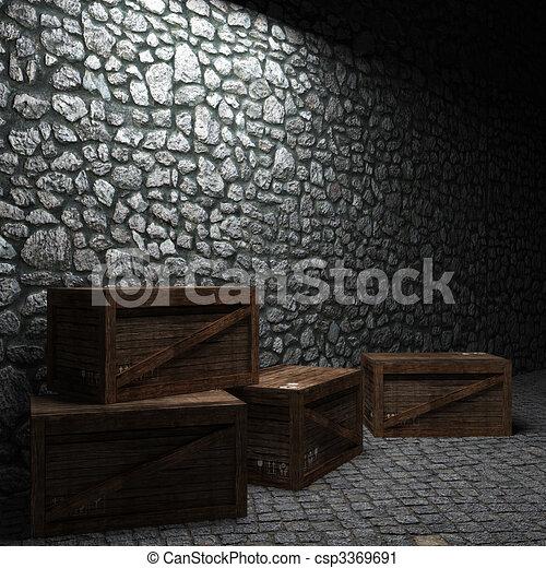 illuminated stone wall and boxes  - csp3369691