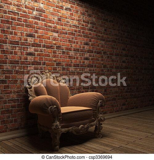 illuminated brick wall and chair  - csp3369694