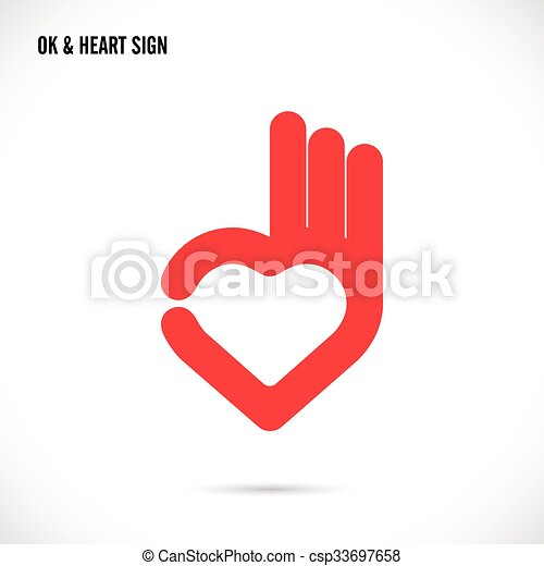 Clipart Vector of Creative hand and heart shape abstract logo ...