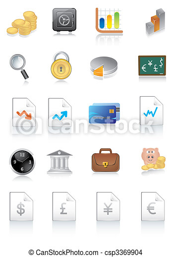 vector illustration of financial icons - csp3369904