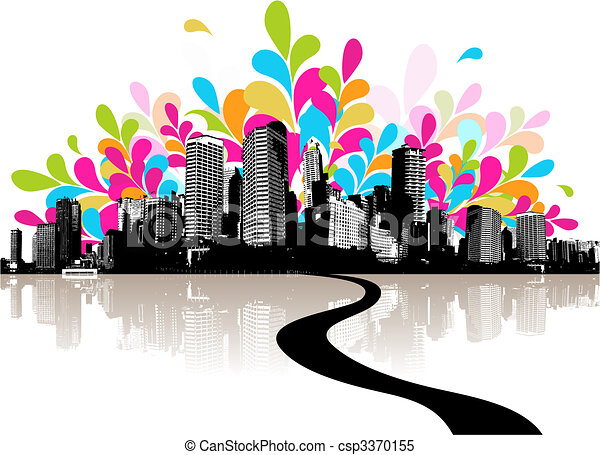 Abstract illustration with city. - csp3370155