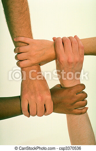 Hands Grasped in Common Cause - csp3370536