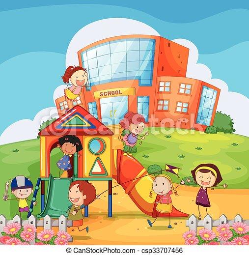 vecteur clipart de enfants  jouer  dans  les   u00e9cole  cour de r u00e9cr u00e9ation  csp33707456 playground clipart pec playground clip art black and white