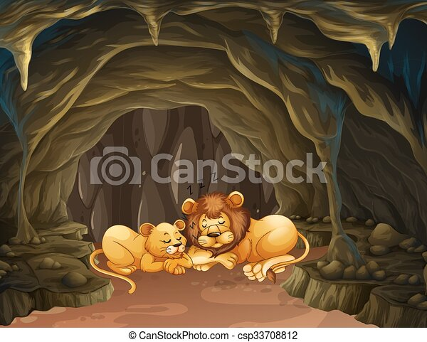 Vector Clip Art of Two lions sleeping in the cave illustration ...