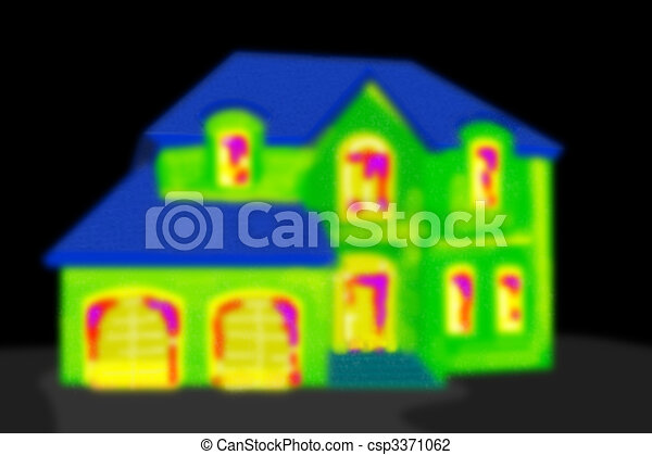 Thermal imaging of a house in a black area. - csp3371062