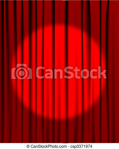 Curtain from the theatre with a spotlight - csp3371974