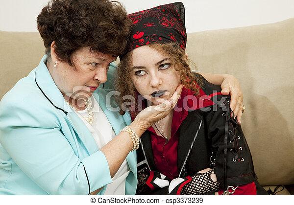 Angry Teen Worried Mom - csp3373239