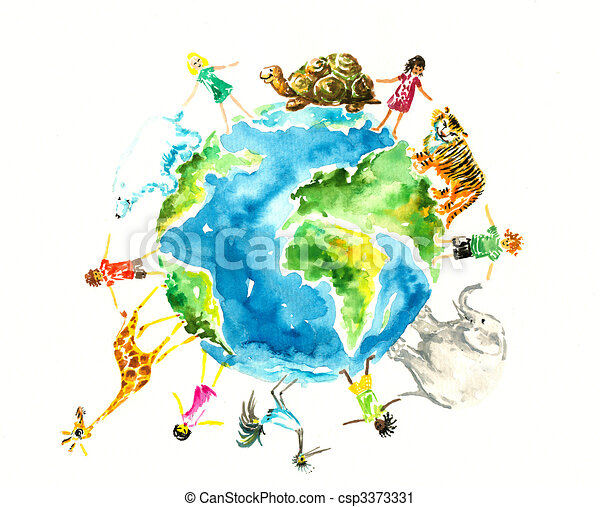 Clipart of Earth - Children and animals around the earth ...