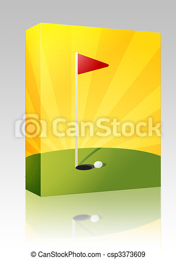 Golf course illustration box package - csp3373609