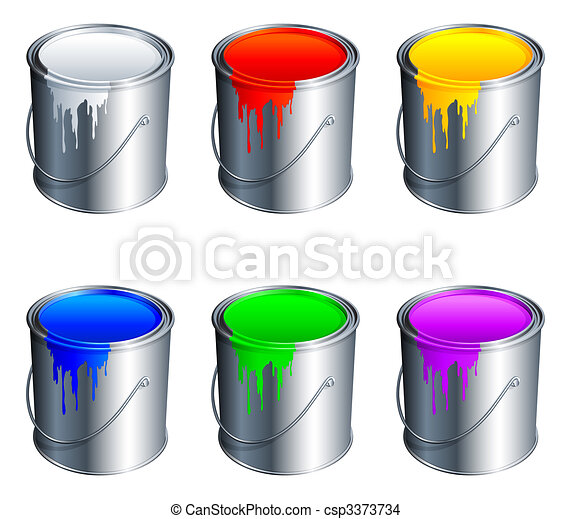Paint buckets. - csp3373734