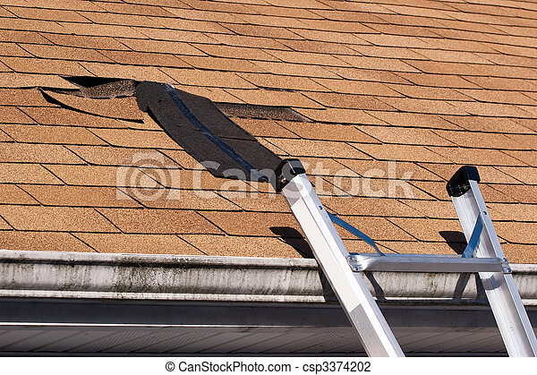 Damaged Roof Shingles Repair - csp3374202