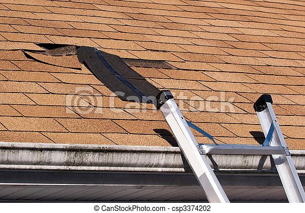 Damaged Roof Shingles Repair - csp3374202