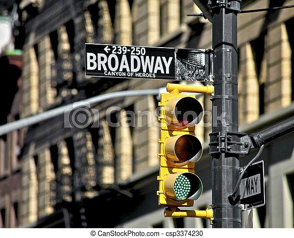 光, 街道, 交通,  broadway, 簽署 - csp3374230