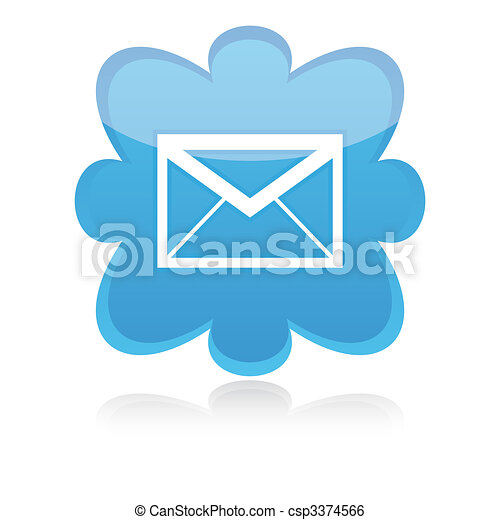 Icon e-mail blue on a white background, vector illustration - csp3374566