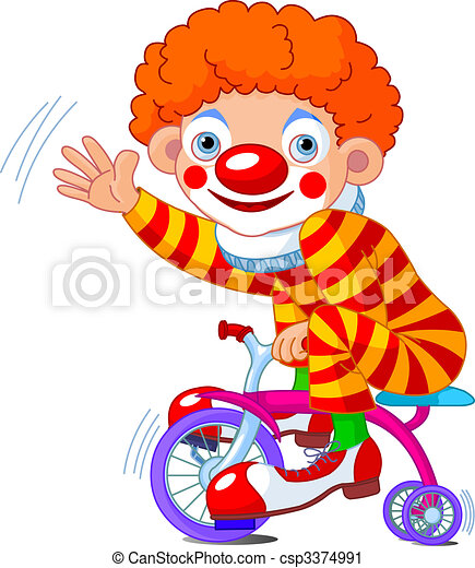 Clown on three-wheeled bicycle - csp3374991
