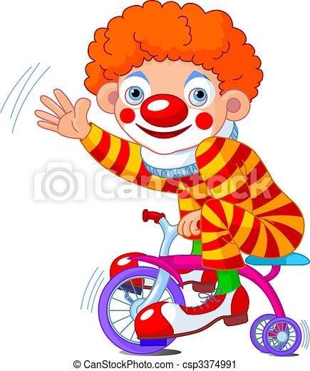 Clown on three-wheeled bicycle  - csp3374991