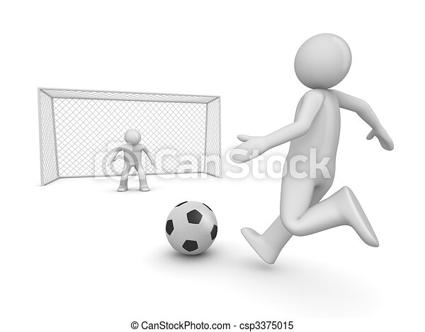Soccer forward in penalty area - csp3375015