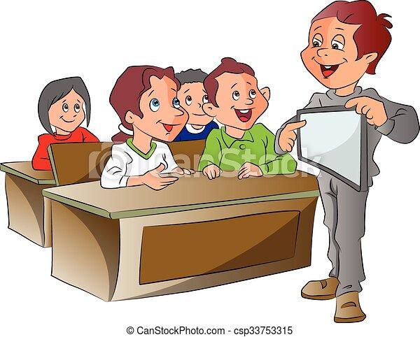 Vector Clipart of Boy Teaching, illustration - Boy Teaching ...