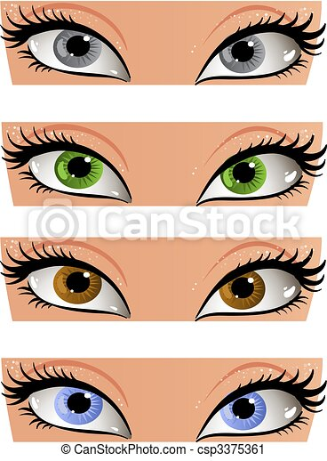 Female color eyes look in the face - csp3375361