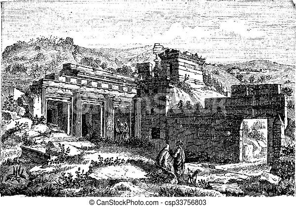 Ruins of Cyrene, in Shahhat, Libya, vintage engraving - csp33756803