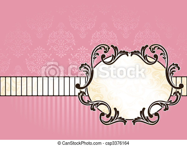 Elegant oval French vintage label, horizontal - csp3376164