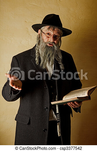 Old jewish man with book - csp3377542