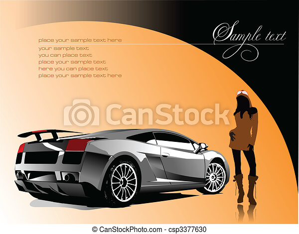 Automobile show with concept-car and girl. Vector illustration - csp3377630