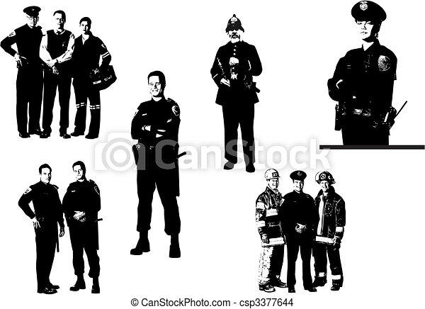 People  silhouettes. Policemen, fireman, medical assistant. Vector illustration - csp3377644