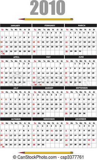 2010 calendar. Can be used as organizer  - csp3377761