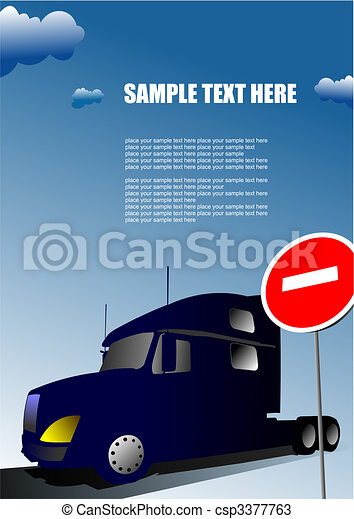 Cover for brochure with lorry image and no entry traffic sign - csp3377763