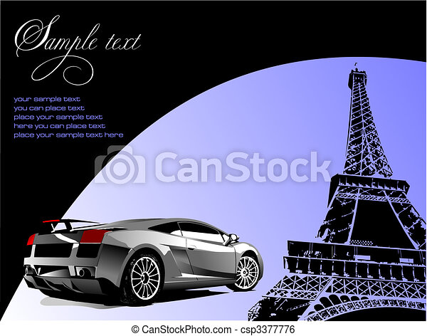 Automobile show with concept-car. Vector illustration - csp3377776