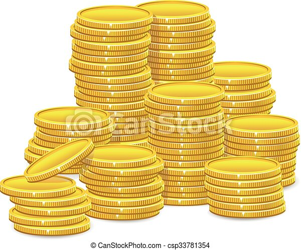 Stacks of gold coins - csp33781354