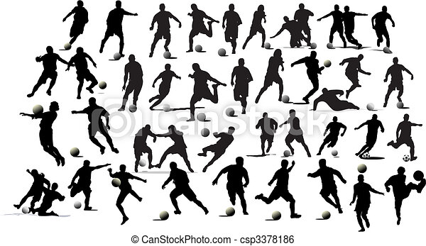 Soccer players. Black and white Vector illustration for designers - csp3378186