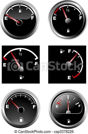 Set of six car dash boards petrol meter, fuel gauge. Vector illustration - csp3378226
