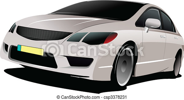 Cars on the road. Vector illustration - csp3378231