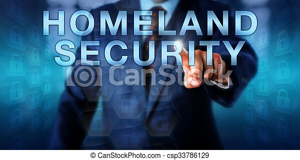 Professional Pushing HOMELAND SECURITY Onscreen - csp33786129