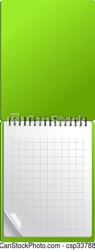 Open green notebook with page curl - csp3378847
