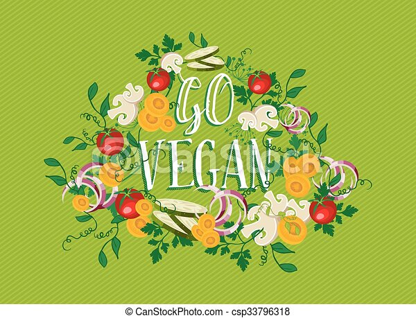 Vector Clip Art of Go Vegan food illustration with vegetable ...