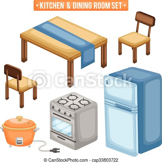 vector illustration of kitchen and dining room items csp33803722