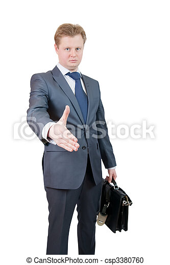 Businessman offering a handshake - csp3380760