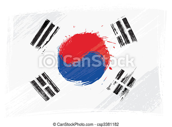 Grunge South Korea flag - csp3381182