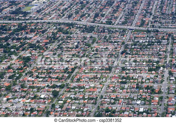 Aerial view of residential houses in Texas - csp3381352