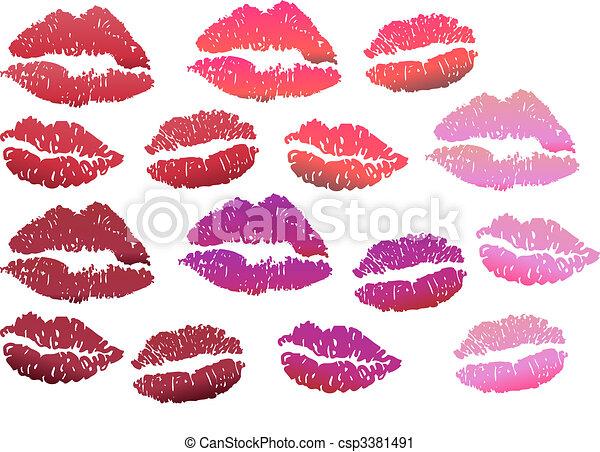 Lip print in red color tones   - csp3381491