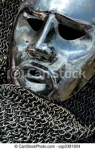Antique Armour Metal Human Face - csp3381904