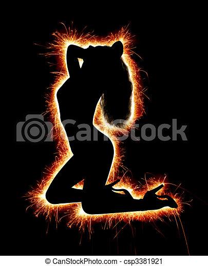 Sparkling Female Silhouette - csp3381921